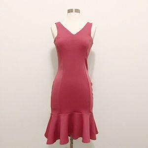ASOS Pink Dress With Peplum Bottom